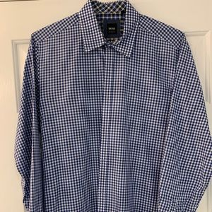 Hugo Boss Button Down Shirt Blue/White Large